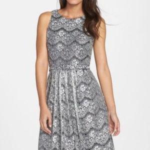 ELIZA J Lace Overlay Cutout Fit & Flare Dress S.8W